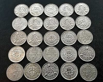 25 x PRE1947 0.5 SILVER THREEPENCE 3d COINS-34.8g in weight