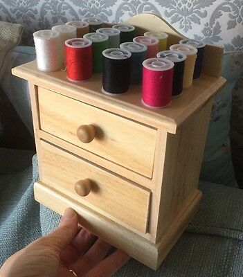 70 Piece SEWING KIT ~ Full Mini Wooden Drawer Cabinet Desk Storage  + Spools