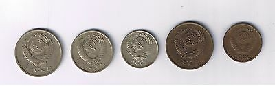 A Set of 5 Soviet kopeks: 2, 3, 10, 15 and 20, various dates, circulated