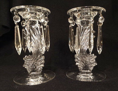 """Antique Pair of Fostoria Flame 8"""" Tall Clear Glass Candlesticks with Prisms"""