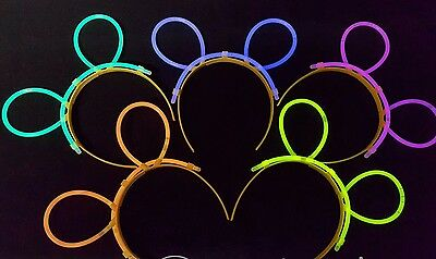Glow in the Dark Bunny Mouse Ears Sticks Flashing Rave Party Headband Lot (6X)