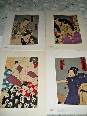 Antique Set 4 Kunimasa, Kunichika Woodblock Prints Kabuki Scenes Lot 1860'S