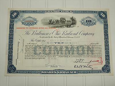 1959 Baltimore & Ohio Railroad Stock Certificate Early Train Image 10 shares