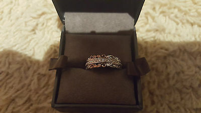 Clogau Sterling Silver & 9ct Rose Gold Am Byth Diamond Ring size O rrp £189