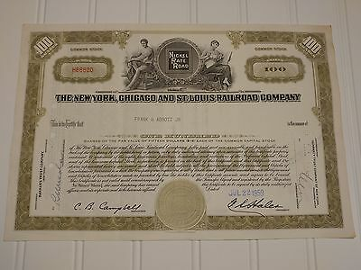 1959 New York Chicago & St. Louis Railroad Stock Certificate Nickel Plate Road