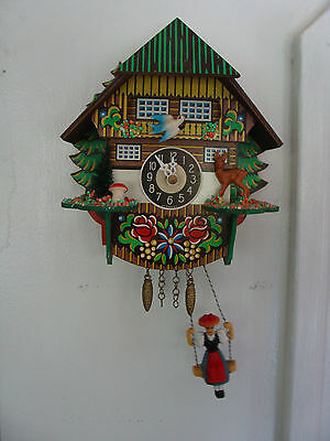 German Black Forest Cuckoo style Clock with Girl on a Swing 1970's for Repair
