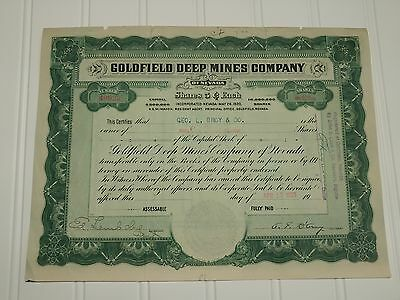 1929 Goldfield Deep Mines Co. Stock Certificate Nevada Tax Stamp