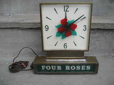 Vintage Four Roses Whiskey Advertising Lighted Electric Clock