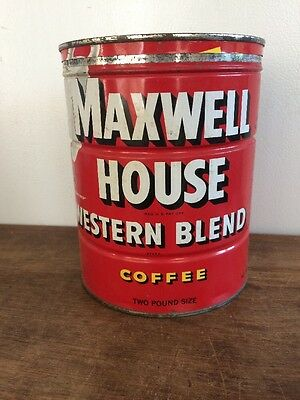1950s Maxwell House Western Blend COFFEE 2 pound Tin can with lid