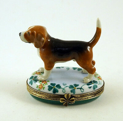 NEW FRENCH LIMOGES TRINKET BOX BEAGLE DOG Puppy on FLORAL BOX WITH LUCKY CLOVER