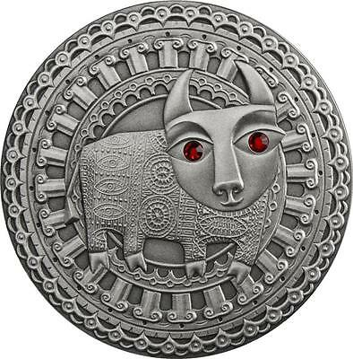 Belarus 2009 20 Rubles Zodiac Signs - Taurus 28.28g Silver Coin with Zircons