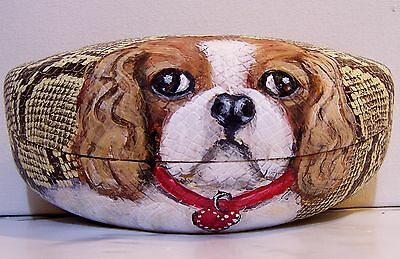hand painted Cavalier King Charles Spaniel original dog art sun glass hard case