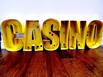 SALVAGED retro C A S I N O marquee letters YELLOW METAL gambling casino MAN CAVE