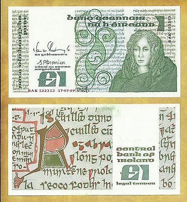 Ireland 1 Pound 1989 XF-AU P-70d Queen Medb Currency Banknote ***USA SELLER**