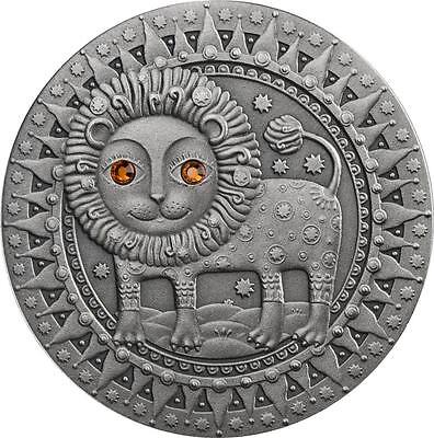 Belarus 2009 20 Rubles Zodiac Signs - Leo 28.28g Silver Coin with Zircons