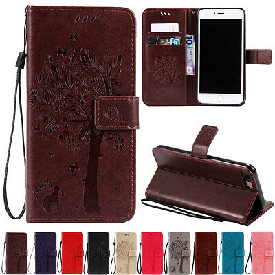 For Apple iPhone 7 Plus Protive Phone Case Flip Wallet Leather Wristlet Cover