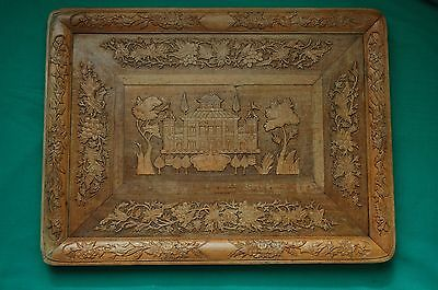 """1800s Antique Persian Large Hand Carved Wood wall Plaque. 22""""X16"""". NO RESERVE"""