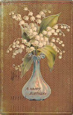Gelatin Vase Filled With Lovely Lily of the Valley on Golden Background-1911 PC