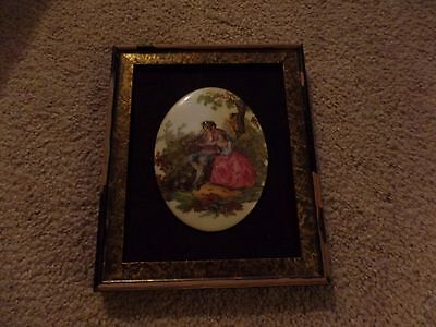 Porcelain Hand Painted Signed Watteau Wall Hanging Picture Man Woman