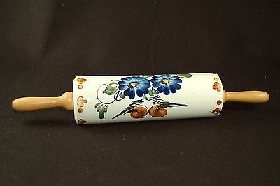 "Vintage Blue Zinnias Flowers Rolling Pin 13.5"" long with Wooden Handles"