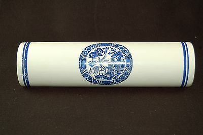 "Vintage Blue and White Oriental Landscape Rolling pin 10"" long"