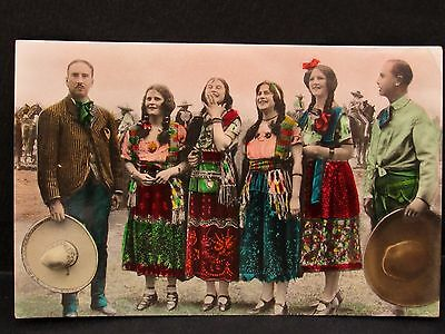 Men & Women in Charro & China Poblanas Costumes, Old MEXICO Tinted Real Photo PC