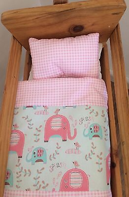 Small Dolls Bedding-Pink Elephants. For little basket, bassinet or crib