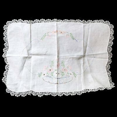 Vintage fine linen white lace trim embroidered mat doily or centrepiece 72cm