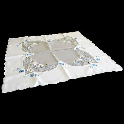 Vintage square silky white & blue daisy embroidered supper table cloth 84cm
