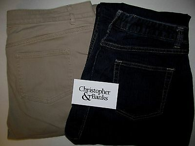 Christopher & Banks LOT Dark Flares + Tan Boot Jeans Women's Size 14S 14P Short