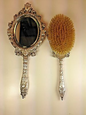 Antique Victorian Cherubs & Roses Repousse Ornate Hand Mirror & Brush Set