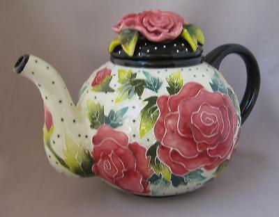 Blue Sky Jeanette McCall Icing on the Cake ROSE Tea Pot