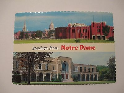 Greetings From Notre Dame University Notre Dame Stadium South Bend IN Postcard