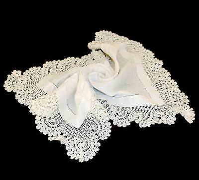 Vintage white linen placemat centrepiece with crochet lace edge