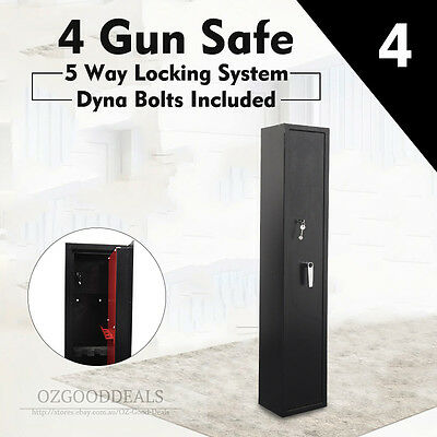 New Heavy Duty Metal 4 Gun Rifles Shot Safe Digital Keypad Pin Key Lock Security