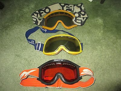 3 PAIR GOGGLES SPY OAKLY BOLLE MX AHRMA MOTOCROSS DIRT BIKE used TRAIL RIDING