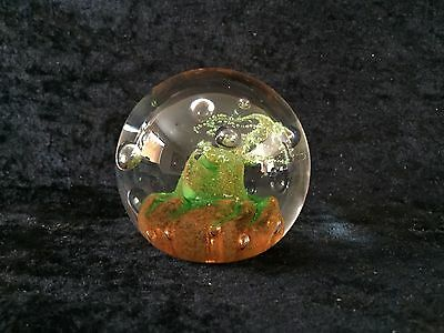 Caithness Scotland Tango Orange/green Color Glass Paperweight E42096  (Pw11)