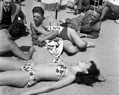 Kirk Douglas and Brigitte Bardot in Bathing Suits During Cannes Film Festival