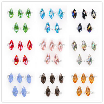 6x12mm Charms Faceted Glass Teardrop Pendant Earring Finding Loose Spacer Beads