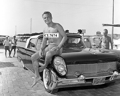 Rossano Brazzi in a Bathing Suit Posing with His Car Beefcake Photo