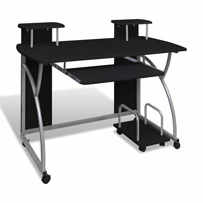 Black Office Computer Desk Table Keyboard Tray PC Storage Student Study Home