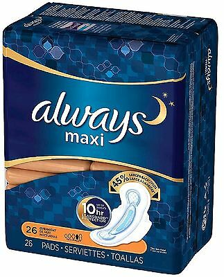 Always Maxi Overnight Pads with Flexi-Wings 26 ea (Pack of 6)