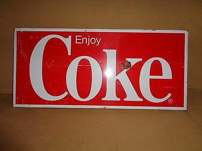Old Metal Coca Cola Tin Sign Enjoy Coke