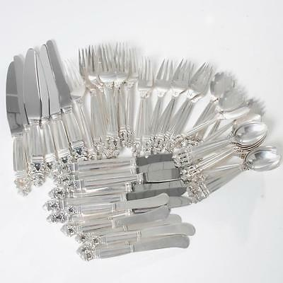 Vintage Set Georg Jensen Acorn Sterling Silver Flatware 6 8Pc Settings Plus Addt