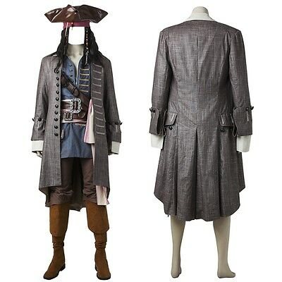 Pirates of the Caribbean Dead Men Captain Jack Sparrow Cosplay Costume