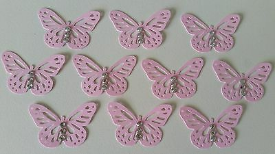 10 Light Pink Monarch Butterfly Embellishments with Rhinestones