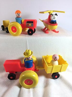 Vintage Fisher Price Little People Tractor Helicopter Trailer Dog Baby Cowboy