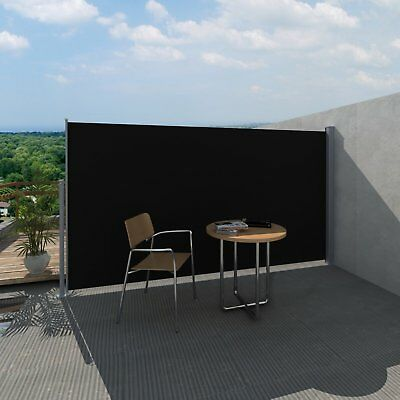 1.8X3M Black Retractable Side Awning Shade Home Garden Terrace Screen Panel