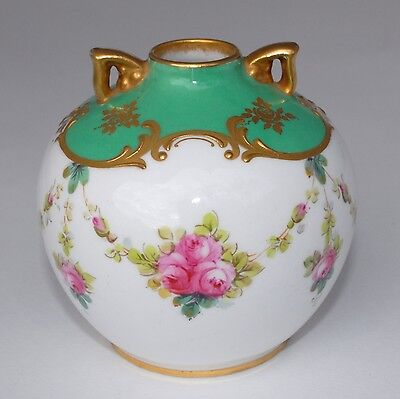 1902-22 Hand Painted Royal Doulton Vase - Green Ground, Roses, Swags/Garland