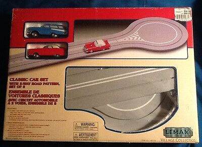 Lemax Village Classic Car Set With 2-Way Road Pattern Complete Cars need work